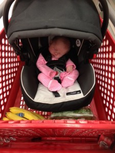 First trip to Target at 9 days old!